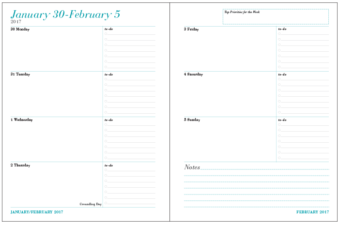 12 month weekly planner